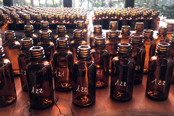 Ampolle di vetro scuro per assaggi tecnici olio d'oliva
